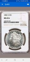 1882-S NGC MINT STATE 65 STAR MORGAN SILVER DOLLAR DMPL OBVERSE BRIGHT WHITE GEM BU