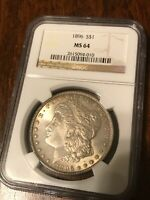 1896 P MORGAN SILVER DOLLAR NGC SLABBED MINT STATE 64