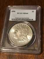 1896 P MORGAN SILVER DOLLAR PCGS SLABBED MINT STATE 64