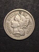1866 3 CENT NICKEL THREE CENTS 3C FULL LIBERTY US TYPE COIN