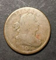 1804 DRAPED BUST HALF CENT CROSSLET 4 WITH STEMS BETTER DATE