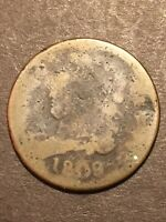 1809 CLASSIC HEAD HALF CENT US TYPE COIN GOOD HOLE FILLER NR