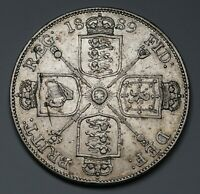 1889 UK GREAT BRITAIN SILVER DOUBLE FLORIN COIN KM 763 SP 39