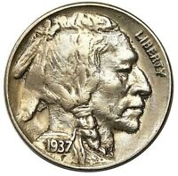 1937 D 3 LEGGED BUFFALO NICKEL AVIDLY PURSUED AU   KEY DATE