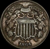 1864 2C TWO CENT COIN NICELY CIRCULATED BEAUTIFUL COLOR COLL