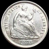 1873 SEATED LIBERTY SILVER HALF DIME NICELY UNCIRCULATED GRE