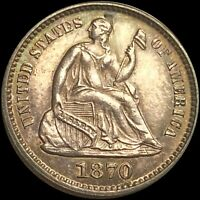 1870 SEATED HALF DIME HIGHLY UNCIRCULATED LIBERTY SILVER COI