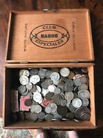 LARGE CIGAR BOX COPPER NICKEL & SILVER COINS 7 LBS OLD