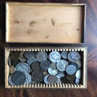SMALL SLIDE BOX COPPER NICKEL & SILVER COINS 1.5 LBS ALL 193