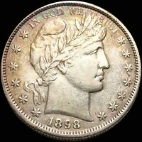1898 S BARBER HALF DOLLAR ABOUT UNCIRCULATED HIGH END SAN FR