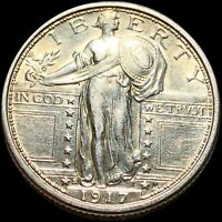 1917 S TYPE 1 STANDING QUARTER ALMOST UNCIRCULATED SILVER LI