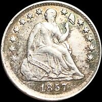 1857 SEATED HALF DIME ABOUT UNCIRCULATED LIBERTY SILVER COLL