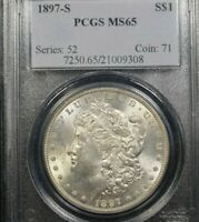 1897-S MORGAN DOLLAR  PCGS MINT STATE 65