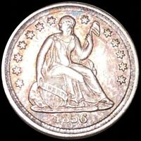 1856 SEATED HALF DIME ABOUT UNCIRCULATED LIBERTY SILVER PHIL