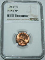 1948-D LINCOLN CENT NGC 4816669-091 MINT STATE 66 RD