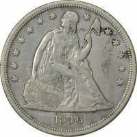 1846 LIBERTY SEATED SILVER DOLLAR EF UNCERTIFIED