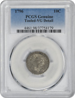 1796 BUST SILVER DIME, GENUINE TOOLED-VG DETAILS, PCGS