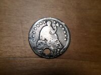 1853 LIBERTY SEATED HALF DIME W/ARROWS, NECKLACE HOLED 4464