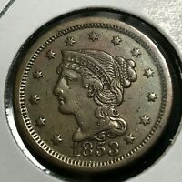 1853 LARGE CENT BRAIDED HAIR HIGH GRADE COIN