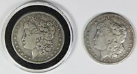 2 MORGAN SILVER DOLLARS: 1899-S AND 1882-O
