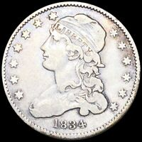 1834 CAPPED BUST QUARTER LIGHTLY CIRCULATED HIGH END PHILADE