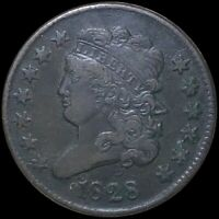 1828 CLASSIC HEAD HALF CENT LIGHTLY CIRCULATED PHILADELPHIA COPPER COIN NO RES