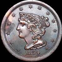 1854 CORONET HEAD HALF CENT LOOKS UNCIRCULATED COPPER CENT COLLECTIBLE BRAIDED
