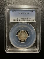 1858 SEATED LIBERTY DIME 10C PCGS AU55 ALMOST UNC SILVER