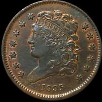 1835 CLASSIC HEAD HALF CENT CLOSELY UNCIRCULATED HIGH END PHILADELPHIA COPPER NR