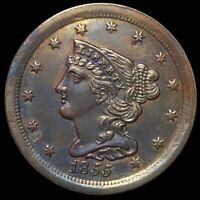 1855 BRAIDED HAIR HALF CENT APPEARS UNCIRCULATED HIGH END PHILADELPHIA COPPER