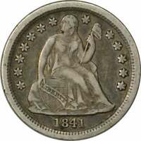 1841-O LIBERTY SEATED SILVER DIME, EF, UNCERTIFIED