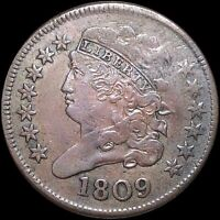 1809 CLASSIC HEAD HALF CENT LIGHTLY CIRCULATED HIGH END EARLY DATE PENNY NR