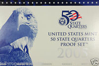 UNITED STATES MINT CLAD PROOF DCAM STATE QUARTERS SET. 2005