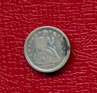 1857-O SEATED LIBERTY SILVER DIME LY CIRCULATED SHIPS FREE