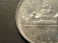 ERROR   CANADA 1968 DOLLAR STRUCK THROUGH GREASE OVER LARGE AREA ON REVERSE
