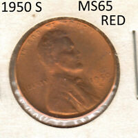 1950 S LINCOLN WHEAT CENT BU RED W/SHIPS FREE