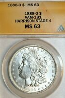 1888-O MORGAN DOLLAR VAM-1B1 HARRISON STAGE 4 ANACS MINT STATE 63, EDS OF VAM-1B SCARFACE
