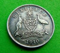 VF/EF  FULL  SILVER  1910  GEORGE  V  SIXPENCE  FROM  AUSTRA