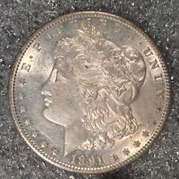 1891-S MORGAN SILVER DOLLAR - NEARLY UNCIRCULATED - HIGH QUALITY SCANS H579