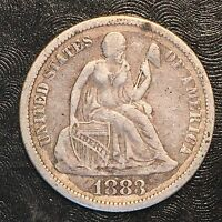 1883 SEATED LIBERTY DIME - HIGH QUALITY SCANS F512