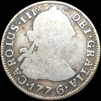1776 2 REALES SPANISH SILVER NICELY CIRCULATED PHILADELPHIA