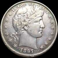 1897 O BARBER HALF DOLLAR CLOSELY UNCIRCULATED NEW ORLEANS 5