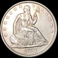 1857 SEATED HALF DOLLAR APPEARS UNCIRCULATED PHILLY MS BU 50