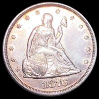 1876 TWENTY CENT PIECE APPEARS UNCIRCULATED PHILLY COLORFUL