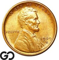 1909 S VDB LINCOLN CENT WHEAT PENNY LUSTROUS RED SOLID GEM B