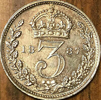 1887 GREAT BRITAIN VICTORIA SILVER THREEPENCE   FANTASTIC EXAMPLE