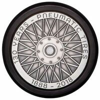 WHEEL COIN  130 YEARS OF PNEUMATIC TIRE  2.3 OZ SILVER COIN