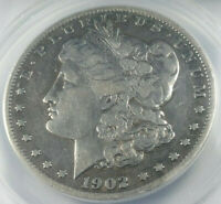 1902-S MORGAN SILVER DOLLAR GRADED BY ANACS AS A VF-25 DETAILS-CLEANED
