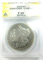 1903-S MORGAN SILVER DOLLAR GRADED BY ANACS AS A F-15 DETAILS-SCRATCHED-CLEANED