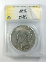 KEY DATE 1928 PEACE SILVER DOLLAR GRADED BY ANACS AS AN AU-50 DETAILS-CLEANED